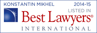 Konstantin Mikhel is listed in Best Lawyers 2014-2015
